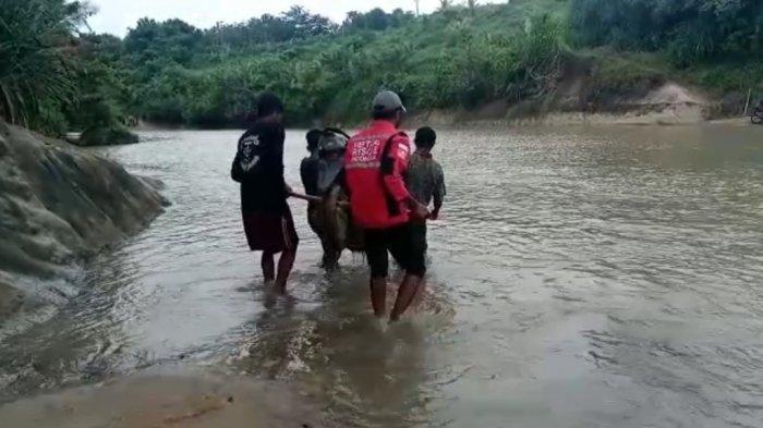 BAHAYA! Jembatan Bambu Rusak Warga Sukabumi Terpaksa Seberangi Sungai Sambil Menggotong Motor