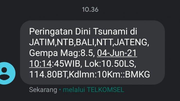 BMKG Kirim Pesan Peringatan Dini Tsunami 4 Juni 2021, Netizen Pun Gaduh, 'Lah Sekarang Masih Mei'