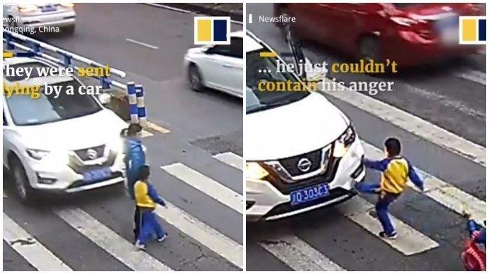 VIRAL Bocah Ngamuk Saat Ibunya Tertabrak, Mobil Si Penabrak Langsung Ditendang-tendang
