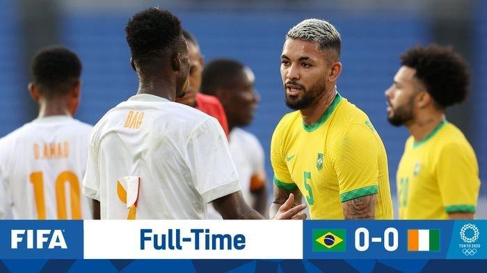 Hasil Sepak Bola Olimpiade Tokyo, Brasil vs Partai Gading Imbang Diwarnai Kartu Merah Kontroversial