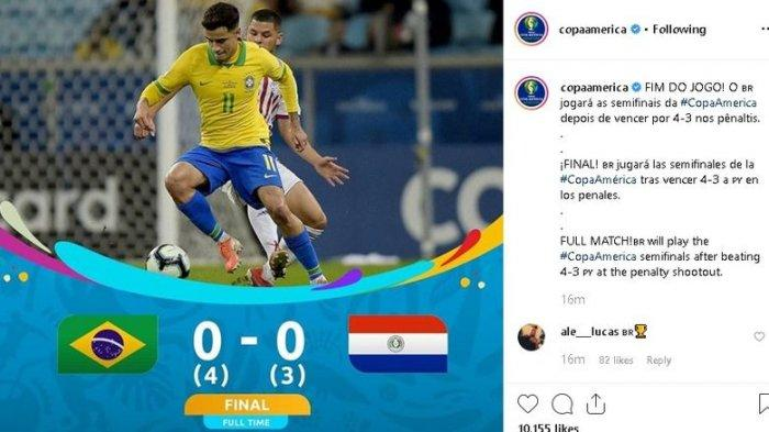 Hasil Copa America 2019 - Firmino Gagal Cetak Gol dari Penalti, Brasil Tetap Lolos ke Semifinal