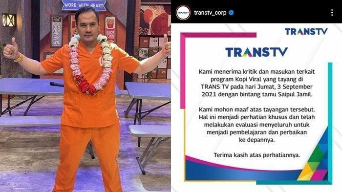 Mengundang Saipul Jamil Sebagai Bintang Tamu, Trans TV Meminta Maaf dan Menarik Tayangannya