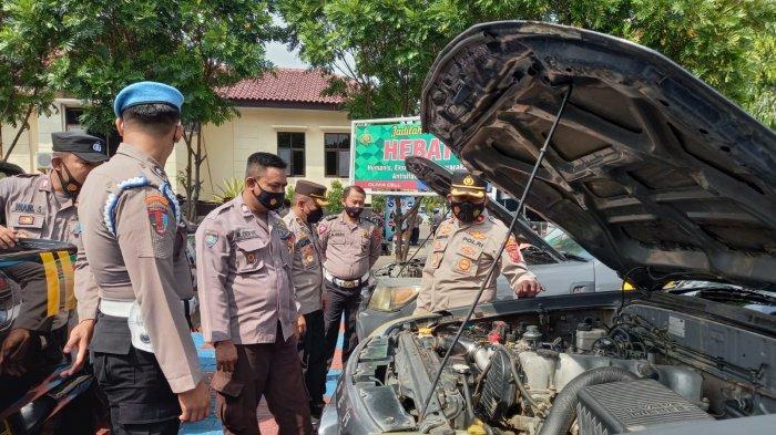 Polres Majalengka Cek Kendaraan Dinas Persiapan Patroli Woro-woro Sosialisasikan Prokes