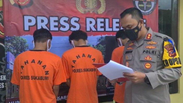Tiga orang pelaku pengeroyokan yang diamankan Jajaran Polres Sukabumi.