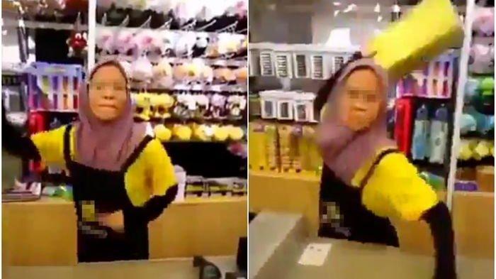 VIDEO VIRAL - Kesal Dipanggil Terus, Kasir Ini Lempar Papan ke Emak-emak yang Tak Mau Antre