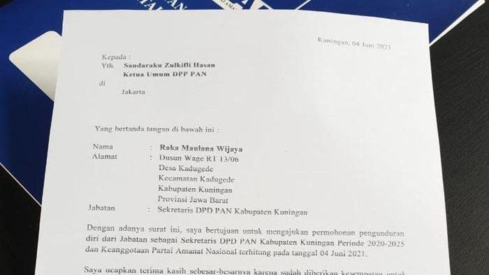 PAN Kuningan Diguncang Pengunduran Diri Sekretaris, Beredar Surat di Saat Rakor, Ini Kata Ketua DPD