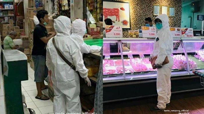 VIRAL Ibu-ibu Belanja ke Pasar Gunakan Jubah Perawat Pasien Virus Corona, Pakai Sarung Tangan Bedah