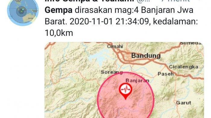 BARU SAJA Gempa Berkekuatan Magnitudo 4 Mengguncang Bandung, Pusat Getaran di Banjaran