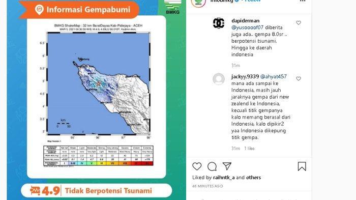 Gempa Bumi Magnitudo 4,9 Guncang Pidie Jaya Tadi Pagi, Kedalaman Dangkal Belum Ada Laporan Kerusakan
