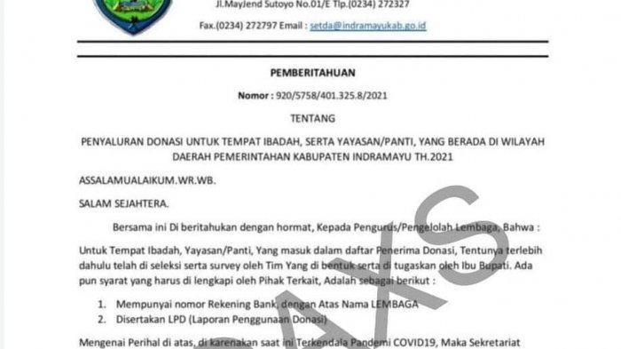 Beredar SE Setda Indramayu Minta Norek untuk Penyaluran Donasi Tempat Ibadah dan Panti, Itu Hoaks