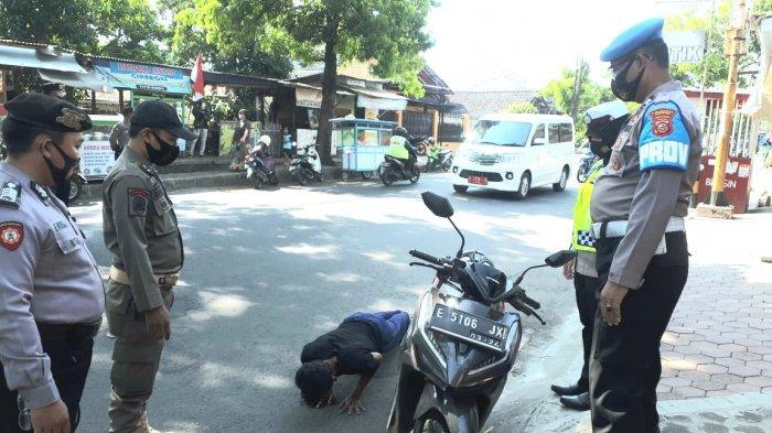 Ratusan Warga Terjaring Razia Masker Petugas Gabungan di Kabupaten Cirebon, Sanksi Push Up & Menyapu