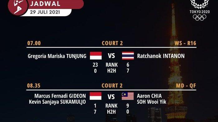 Jadwal Bulutangkis Kamis 29 Juli 2021, Tiga Wakil Indonesia Mainkan Laga Penting di Perempat Final