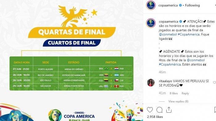 Ini Dia Jadwal Lengkap Perempat Final Copa America 2019