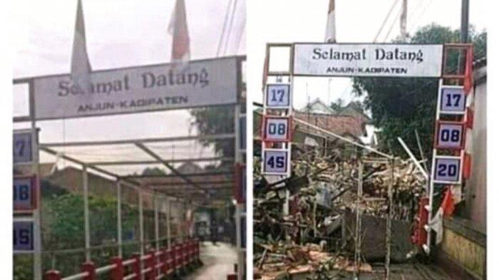 Ngeri! Beredar Foto Jembatan Anjun Kadipaten Majalengka Rusak Diterjang Banjir, Penuh Gunung Sampah