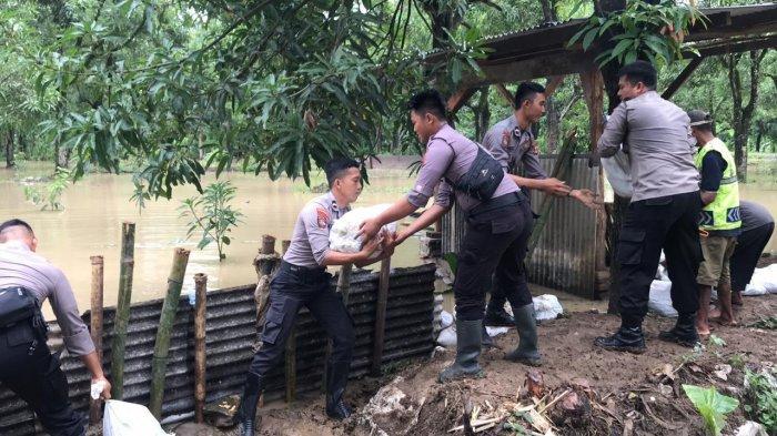Gunakan Karung Pasir, Warga & Petugas Gotong Tambal Tanggul Sungai Cimanuk Indramayu yang Jebol