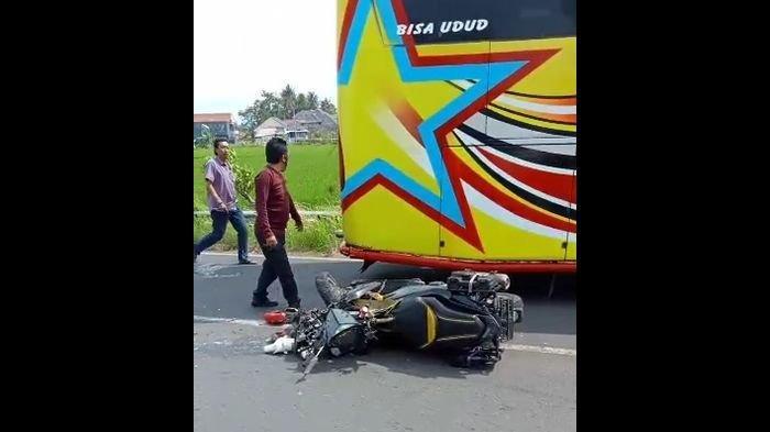 Heboh Video Kecelakaan Motor vs Bus di Jalan Baru Ancaran - Kedungarum Kuningan, Beredar di Medsos