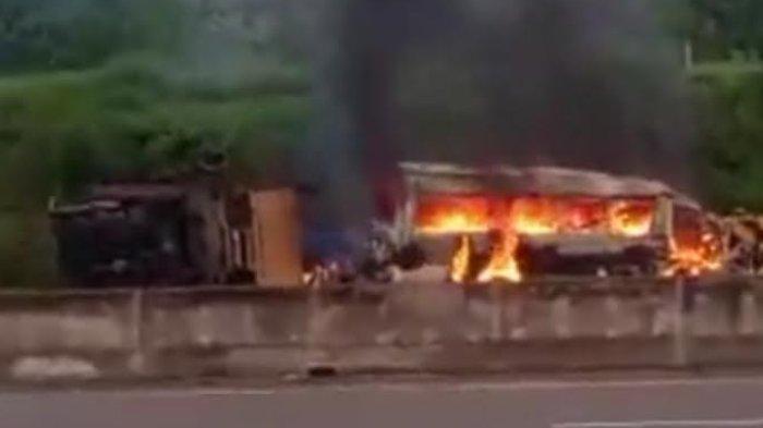 Kecelakaan di Tol Madiun-Nganjuk, Mobil Elf Terbakar Setelah Tabrakan Dengan Truk, Tiga Orang Tewas