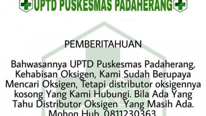 Puskesmas di Pangandaran Kehabisan Oksigen Mencari Distributor hingga ke Purwokerto Tapi Kosong