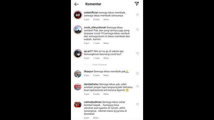 Tangkapan layar sejumlah komentar dari netizen akan kesembuhan Bupati Majalengka Karna Sobahi yang terpapar virus Corona di akun sosial media Instagram @infomjlk