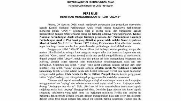 Komnas Perlindungan Anak Persoalkan Kata Anjay, Netizen: Please Do Something Important KPAI