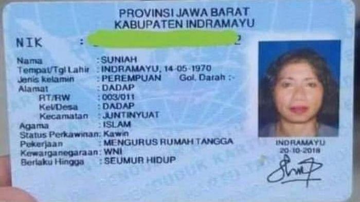 KTP-el Suniah (50), TKW asal Desa Dadap, Kecamatan Juntinyuat, Kabupaten Indramayu. Foto diambil Rabu (20/1/2021).