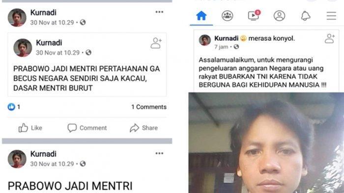 Pria Pengangguran Lakukan Penghinaan Pada TNI-Polri dan Menhan Prabowo, Begini Postingannya