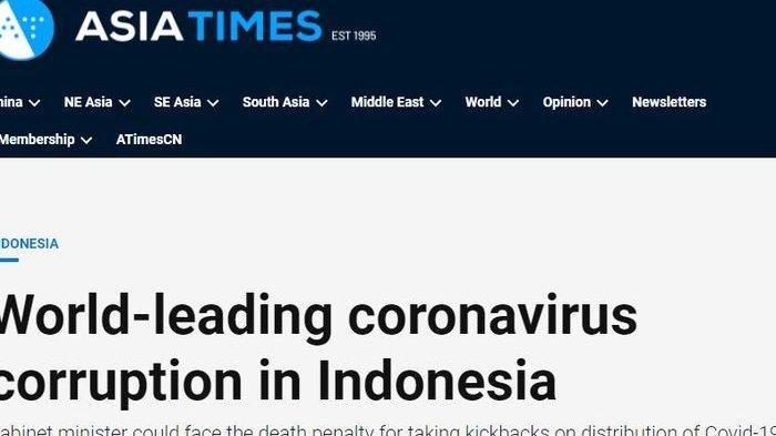 Miris, Media Asing Sebut Indonesia Jadi yang Terdepan di Dunia Soal Korupsi Terkait Virus Corona