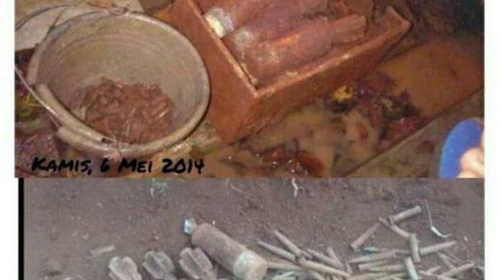 Penemuan mortir dan ribuan butir peluru di TPU  Desa Pamulihan Kecamatan Cipicung Kuningan Jawa Barat.