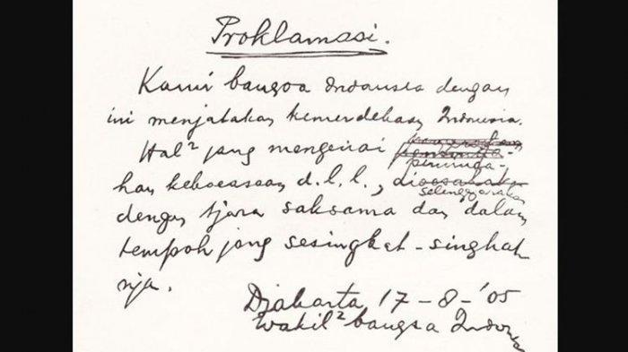 Perubahan Teks Proklamasi Tulisan Tangan Soekarno dengan Naskah Ketikan Sayuti Melik
