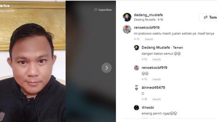 pemilik akun TikTok @dadang_mustafa disebut-sebut mirip dengan Menhan Prabowo Subianto