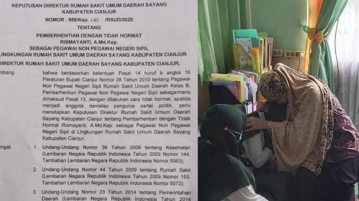 Viral Foto Seorang Perawat di Cianjur Tengah Menangis Sesenggukan dengan Foto SK Pemecatan