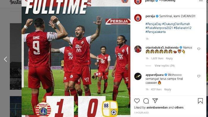 Persija Jakarta Lolos ke Semifinal Piala Menpora 2021, Kalahkan Tim Asuhan Eks Pelatih Persib 1-0