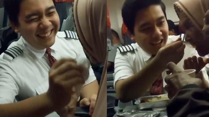 VIDEO VIRAL Pramugara Ganteng Lion Air Bantu Rapikan Hijab dan Menyuapi Lansia di Pesawat