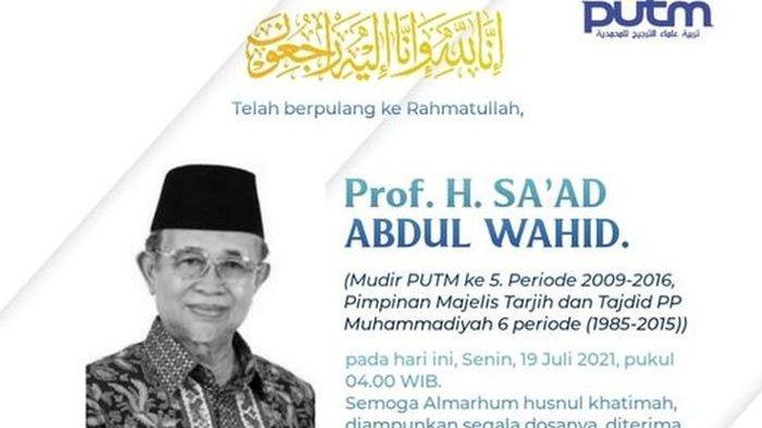 INNALILLAHI, Prof Dr Sa'ad Abdul Wahid Guru Besar UIN Yogyakarta Meninggal Dunia Senin Subuh