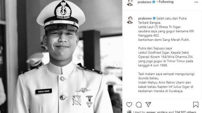 Profil Letda Laut Rhesa Tri Sigar Keponakan Prabowo yang Gugur di KRI Nanggala-402, Menhan Tulis Ini