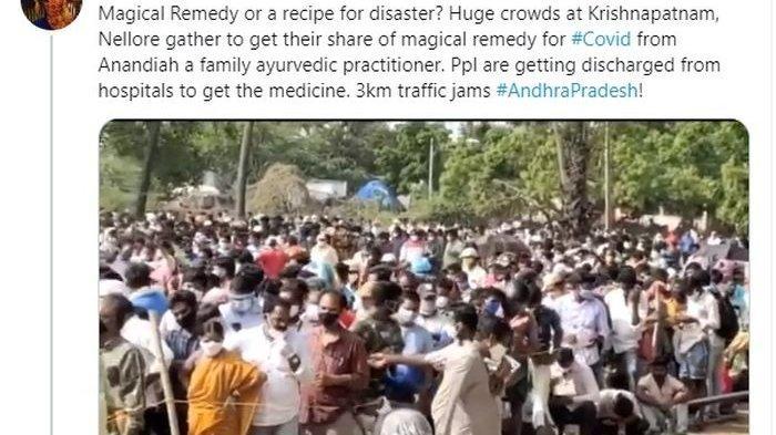 Langgar Protokol Kesehatan, Ribuan Warga di India Berkerumun Demi Dapat Obat Ajaib untuk Covid-19
