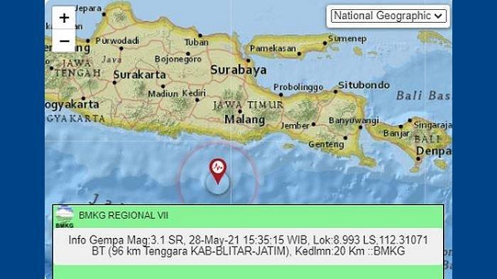 Setelah Pacitan, Gempa Guncang Blitar Jawa Timur pada Sore Tadi, Berikut Informasi BMKG
