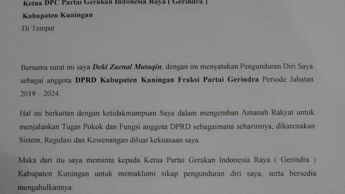 Anggota DPRD Kuningan Deki Zaenal Keukeuh Ingin Mundur dari Dewan, Ketua DPC Gerindra Ungkap Begini