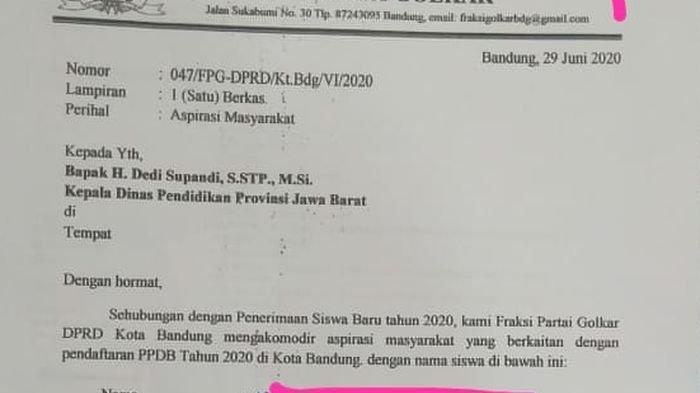 Beredar 'Surat Sakti' Berkop Surat DPRD Kota Bandung, Diduga Titip Siswa Supaya Lolos PPDB