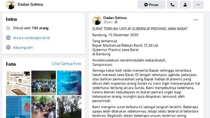 Surat Terbuka untuk Gubernur Jabar dari Pegiat Aksara Sunda, 'Malu Liwat Saking Lihat Provinsi Lain'