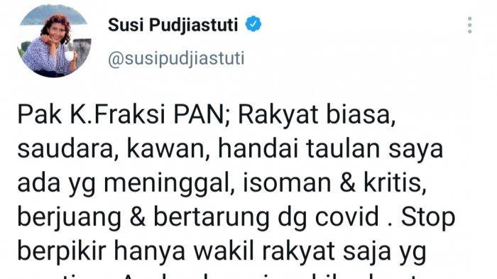 Susi Pudjiastuti Sindir Ketua Faksi PAN DPR RI yang Minta Fasilitas Kesehatan Covid-19 ke Menkes