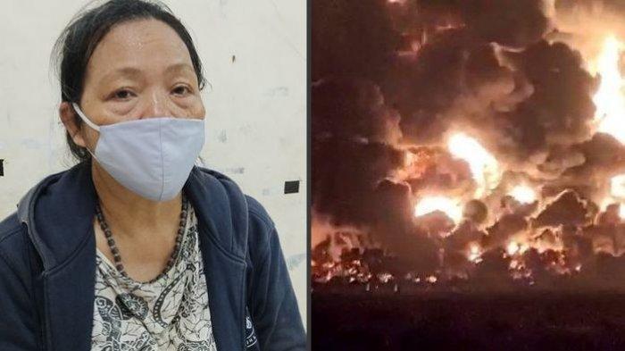 Sutiah korban yang harus mengungsi. PT Pertamina RU VI Balongan Indramayu meledak, Senin (29/3/2021).