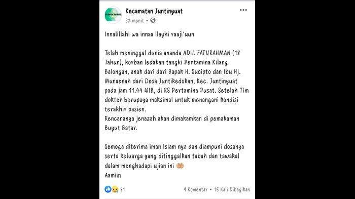 PT Pertamina Sampaikan Duka Mendalam Atas Meninggalnya Pelajar Indramayu Akibat Insiden Kebakaran