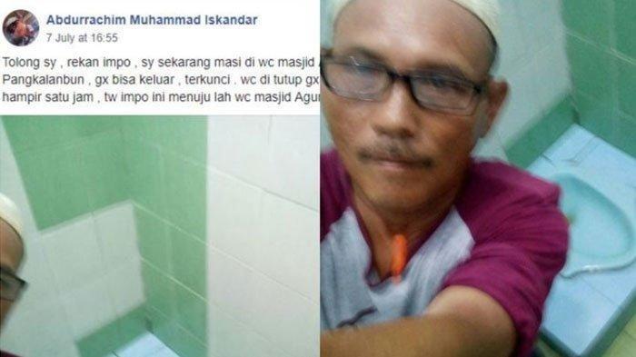 Habis Salat Asar di Masjid, Tukang Parkir Ini Kebelet Pipis, Mau Keluar WC Terkunci, Akhirnya Selfie