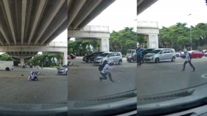 VIRAL Pria Berdiri & Bergaya Jurus Bela Diri Usai Tertabrak Mobil, Padahal Motornya Hancur