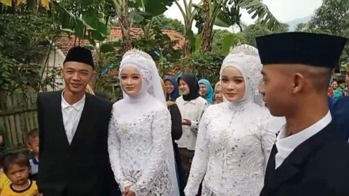 Pernikahan pasangan kembar di Sumedang yang unik ini hanya dilaksanakan dengan sederhana dan hanya mengundang saudara terdekat.