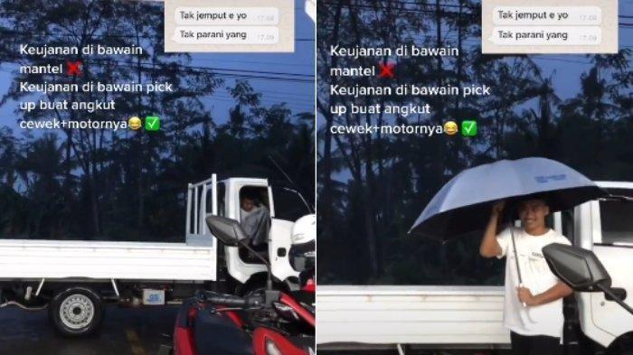 VIRAL Pemuda Jemput Pacar Pakai Mobil Pikap dan Angkut Motor Sang Cewek Saat Hujan