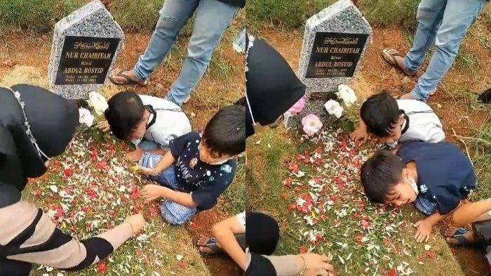 Dua Bocah Terus Panggil Mama di Makam Viral, Videonya Ditonton Jutaan Orang, Ini Kisah Sebenarnya