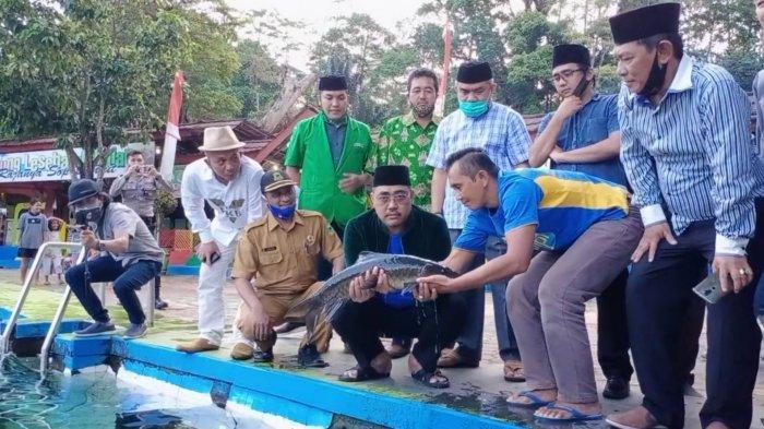 Wakil Ketua MPR RI Jazilul Fawaid mengangkat ikan dewa di Cibulan, Kuningan, Selasa (15/9/2020).