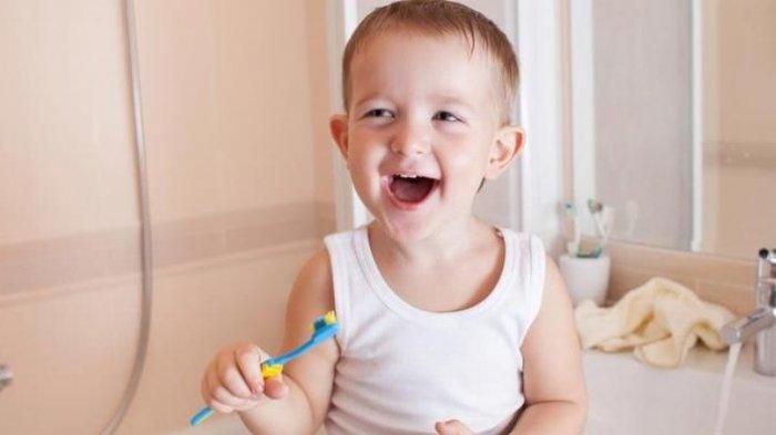 Ilustrasi membersihkan gigi anak